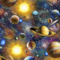 SPECIALTY FABRICS:  Scenic Planets in Outer Space on Navy:  Artworks XVIII by Adrian Chesterman for Quilting Treasures