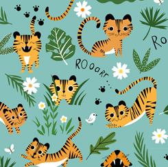Tiger Tails - Tigers & Leaves - Aqua