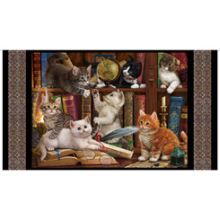 Literary Kitties Panel Black