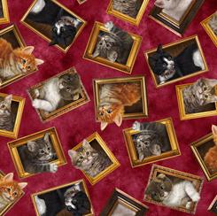 Literary Kitties 28237-R FRAMED KITTIES BRICK RED