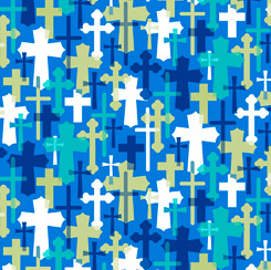 Psalms Overlapping Crosses 28255-B Blue