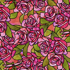 Stained Glass Garden ROSES PINK