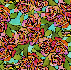 Stained Glass Garden ROSES AQUA