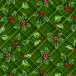 28299-F Christmas Cardinals HOLLY PLAID FOREST