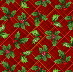 28299-R Christmas Cardinals HOLLY PLAID RED