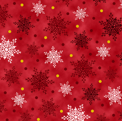 28300-R  Christmas Cardinals SNOWFLAKES RED