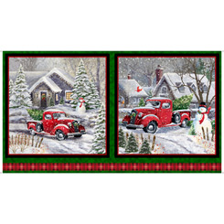 Winter Greetings RED TRUCK CHRISTMAS PICTURE PATCHES FOREST 28334-F