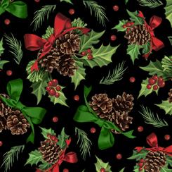 Winter Greetings Holly & Pine Black 28339-J