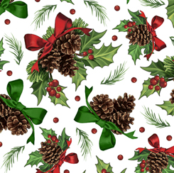 Winter Greetings HOLLY & PINE WHITE 28339-Z