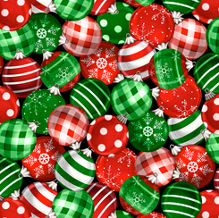 Winter Greetings ORNAMENTS RED/GREEN 28340-RG