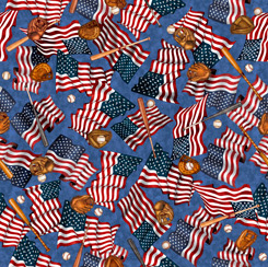 America's Pastime Baseball Motifs and Flags on Blue Fabric by the yard