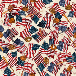 America's Pastime FLAGS & BASEBALL MOTIFS CREAM