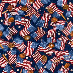 America's Pastime FLAGS & BASEBALL MOTIFS NAVY