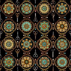 Sew Lovely Scissor Medallion Black 28377 J