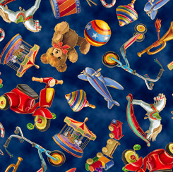 Fabric-QT Santa's Night Out Tossed Toys