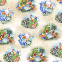 Colorful Roosters ROOSTER VIGNETTES A