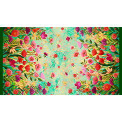 QT - Wild Beauty -Floral-DOUBLE BOARDER/Green - 28503-G