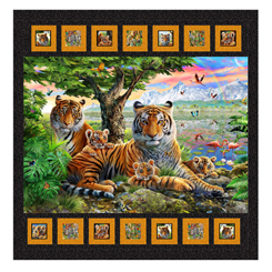 QT Fabrics-Jungle Family Tiger Quilt Kit