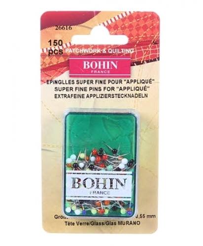 Bohin 150 Super Fine Glass Head Applique Pins