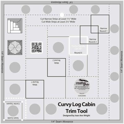 Curvy Log Cabin Trim Ruler 8 inch CGRJAW5 by Creative Grids