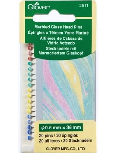 Clover Marbled Glass Head Pins - 051221725111 Quilting Notions