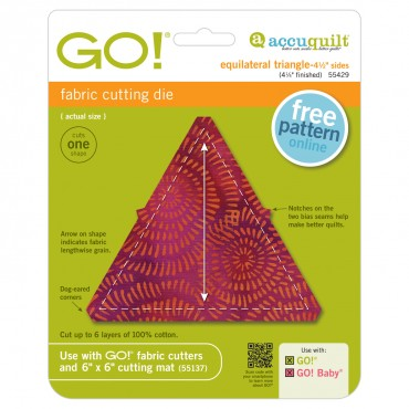 Accuquilt Die GO! 55429 Equilateral Triangle 4.5 Inch Sides 699195554292 / Quilt in a Day / AccuQuil