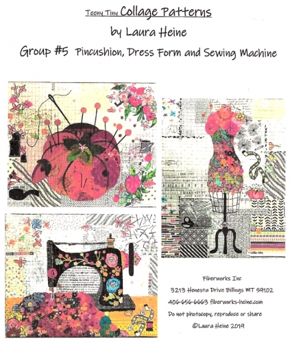 Teeny Tiny Collage Patterns Group 5 - Pincushion - Dress Form - Sewing Machine b...