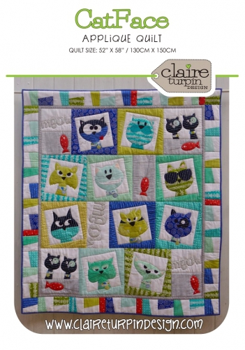 Catface Applique Quilt Pattern by Claire Turpin Design - Quilt in A Day