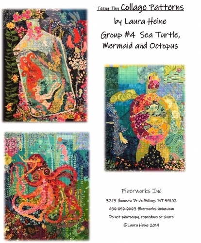 Teeny Tiny Collage Patterns Group 4 - Sea Turtle-Mermaid-Octopus by Laura Heine