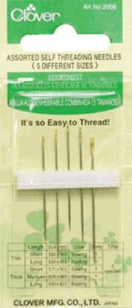 Clover Self Threading Needles Assorted - 051221407079 Quilting Notions