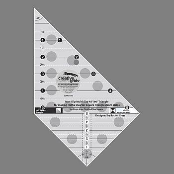 Creative Grids Multi-size 45 & 90 degree Triangle Ruler CGRMS4590 743285001156 R...