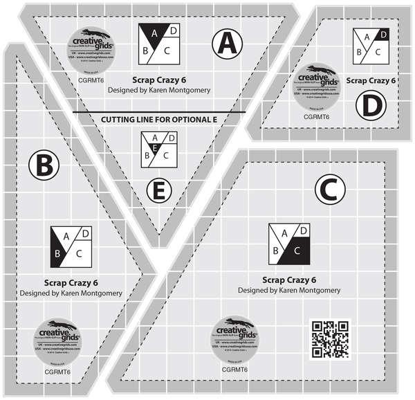 Creative Grids Scrap Crazy 6 Templates CGRMT6 743285001750 Rulers & Templates