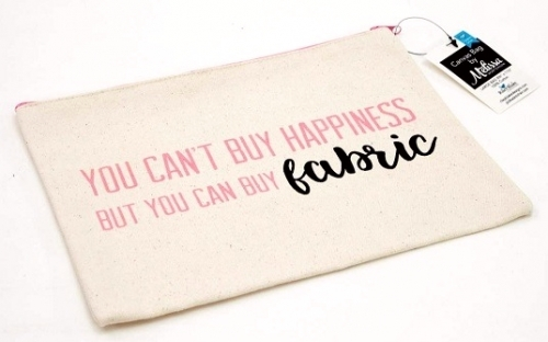 You Can't Buy Happiness...Large Canvas Zipper Bag by Riley Blake Designs - 88933...