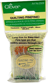 Clover Quilting Pins (fine) Glass Headed - 051221403026 Quilting Notions