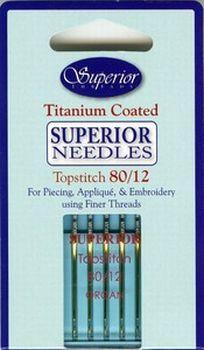 Superior Topstitch Machine Needles Size 80/12 Titanium coated