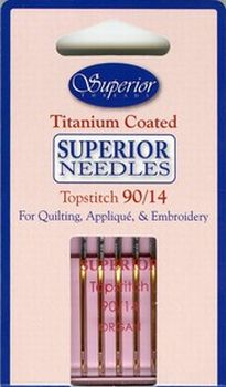 Superior Titanium Coated Topstitch Needle Size 90/14 5ct - 1329014