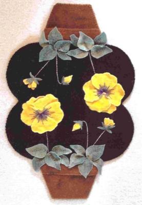 Clay Pot Pansies Penny Rug