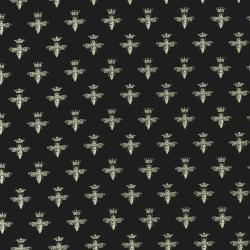 Queen Bees on Jet Black Fabric