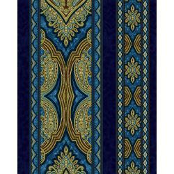 Aruba - Border - Teal Gold Fabric - 3578-001