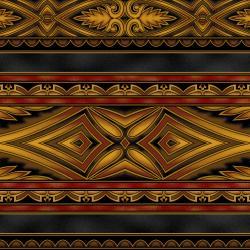 5396-010 Border Basics - Kalimantan - Bronze Fabric