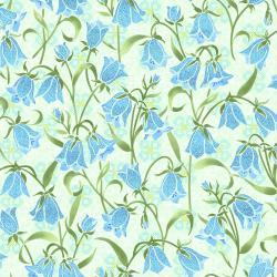 FF202-SP1M Blue Belle - Brilliant Blooms - Springtime Metallic Fabric