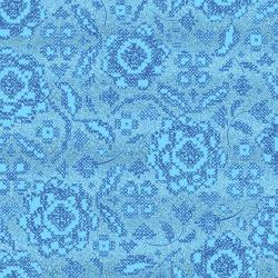 FF205-TR1M Blue Belle - Stitch and Sparkle - True Blue Metallic Fabric