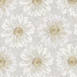 Shiny Objects - Good as Gold - Embossed Blooms - Pearl Metallic Fabri...