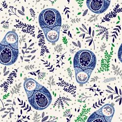 RJR Winter Dreams - Babushka Dolls - Royal Blue Metallic Fabric