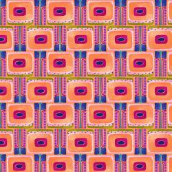 KK101-OR1 Floret Geometric - Flower Board - Orange Fabric