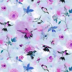 RJR Fabrics Bloom Bloom Butterfly - Hummingbird Flight - Sky Fabric