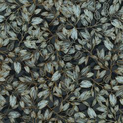 Shades of Autumn - Dancing Leaves - Blue Dusk-  Metallic - 30130-008