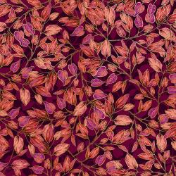 Shades of Autumn - Dancing Leaves - Mulberry - Metallic - 30130-010