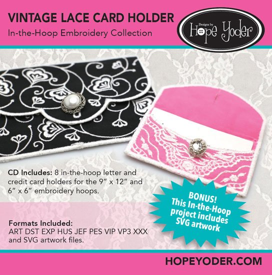 Vintage Lace Card Holder In-the-Hoop Embroidery Collection