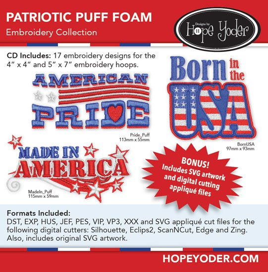 Patriotic Puff Foam Embroidery Collection